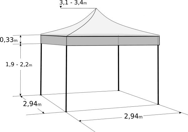 Pavililion de grădină 3x3m - Profesional din aluminiu hexagonal: Dimensiuni și parametri