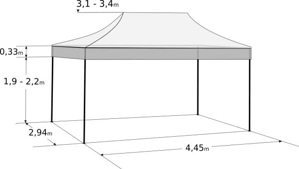 Pavilion de grădină 3x4,5m - Profesional,  din aluminiu hexagonal: Dimensiuni și parametri