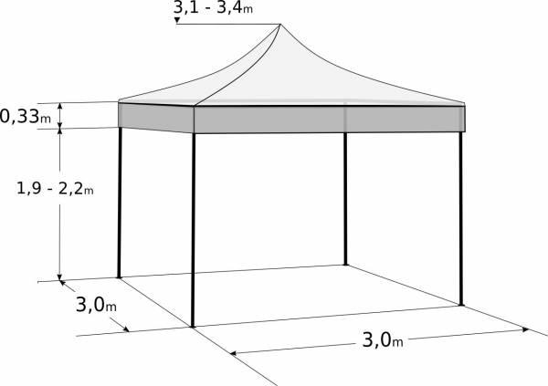 Pavilion de grădină 3x3m - din aluminiu hexagonal: Dimensiuni și parametri