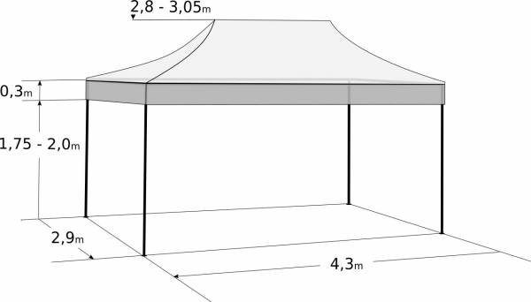 Pavilion de grădină  3x4,5m – din aluminiu: Dimensiuni și parametri
