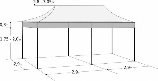 Pavilion de grădină  3x6m – din aluminiu: Dimensiuni și parametri