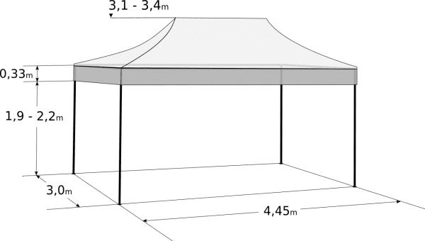 Pavilion de grădină 3x4,5m - din aluminiu hexagonal: Dimensiuni și parametri