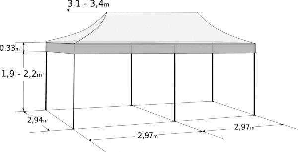 Pavilion de grădină 3x6m - Profesional din aluminiu hexagonal: Dimensiuni și parametri