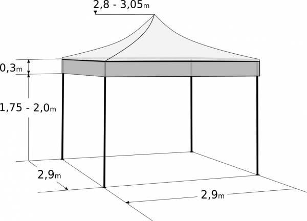 Pavilion de grădină  3x3m – din oțel: Dimensiuni și parametri